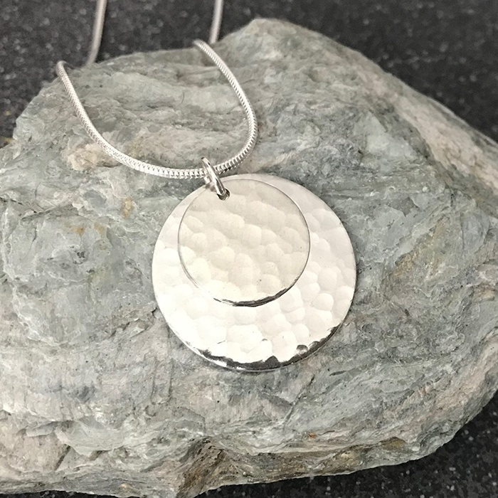 Hammered Tin Double Disc Necklace