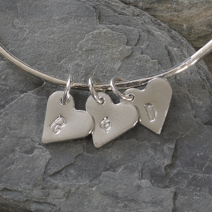 Silver Bangle with Personalised Tin Heart Charms