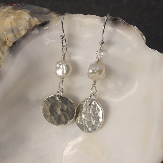 Textured Tin Disc Earrings with Mother-of-Pearl