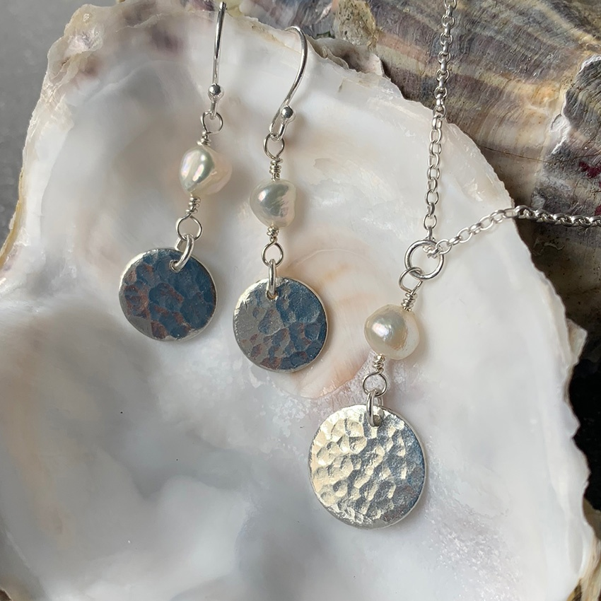 Hammered Tin Disc Necklace & Earrings with Mother of Pearl