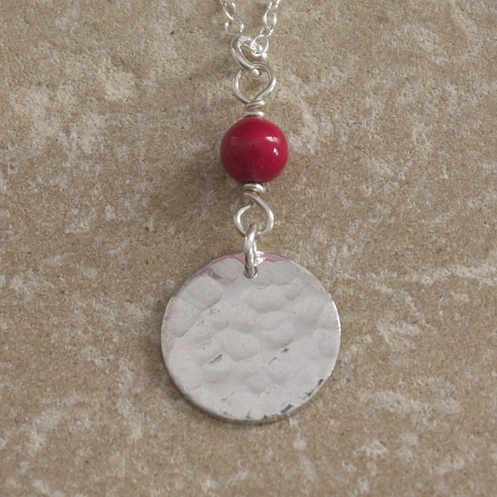 Hammered Tin Disc Necklace with Pink Bead