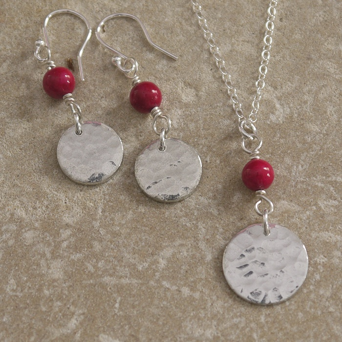 Hammered Tin Discs & Pink Beads - Necklace & Earrings Set