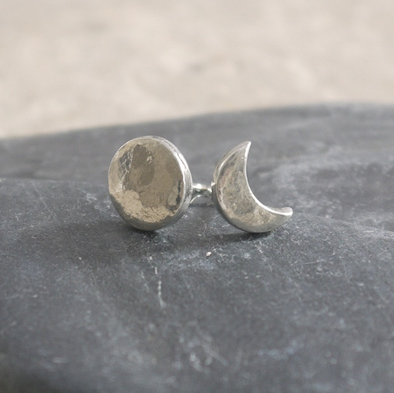Delicate Tin Sun and Moon Stud Earrings