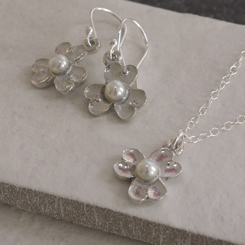 Cornish Tin Flower with Pearl Necklace & Earrings Set