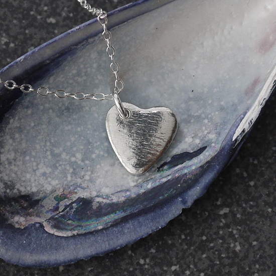 Delicate Tin Heart Necklace