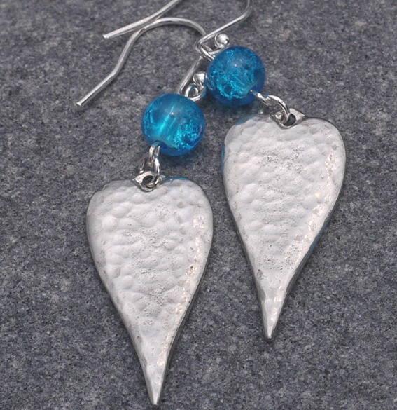 Long Heart Earrings with Blue Crackle Bead