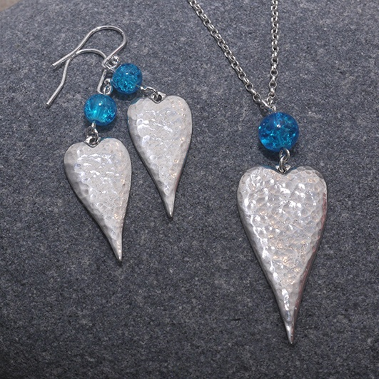 Long Heart Necklace & Earrings with Blue Crackle Bead Set