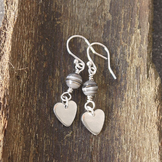 Tin Heart Earrings with Agate
