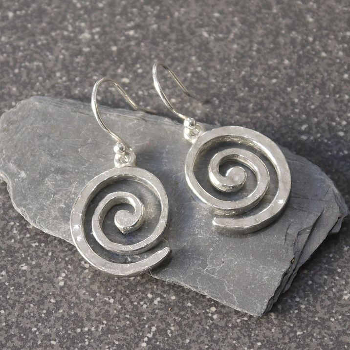 Cornish tin swirl earrrings