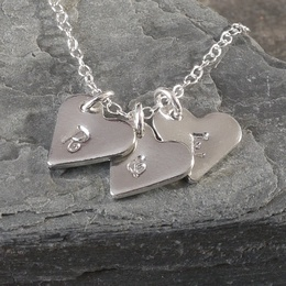 Personalised Tin Heart Initials Necklace
