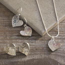 Cornish Tin Hammered Heart Necklace & Drop OR Stud Earrings Set