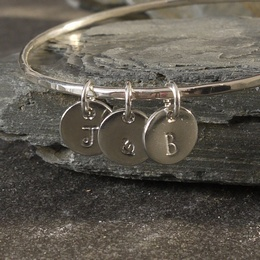 Silver Bangle with Personalised Tin Disc Charms