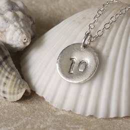 Number 10 Tin Disc Necklace