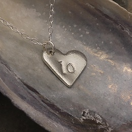 Number 10 Tin Heart Necklace