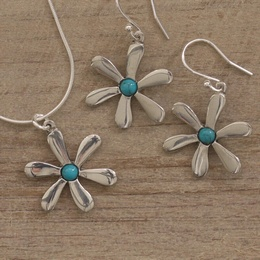 Turquoise Daisy Necklace & Earrings Set