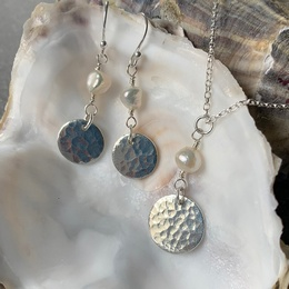 Textured Tin Disc Necklace & Earrings with Mother of Pearl