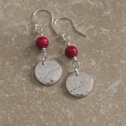 Hammered Tin Discs with Pink Bead Earrings