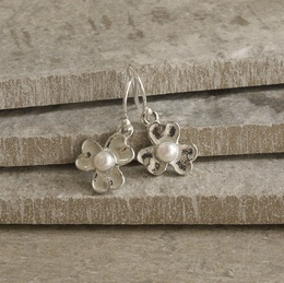Cornish Tin Flower Earrings with Pearl