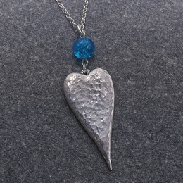 Long Heart Necklace with Blue Crackle Bead