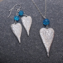 Long Heart Necklace & Earrings with Blue Crackle Bead