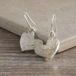 Cornish Tin Hammered Heart Earrings