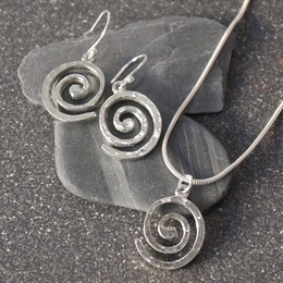 Cornish Tin Spiral Necklace & Earrings Set
