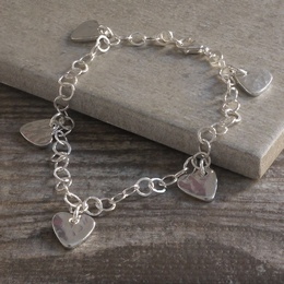 Bracelet with Tin Heart Charms