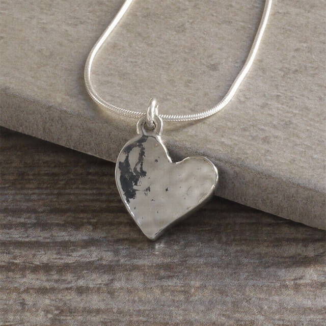 Cornish Tin Hammered Heart Necklace