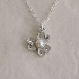 Cornish Tin Flower Necklace with Pearl