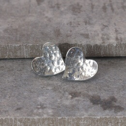 Cornish Tin Hammered Heart Stud Earrings