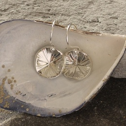 Textured Tin Disc Drop Earrings