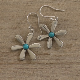 Daisy Earrings with Turquoise
