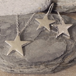 Tin Star Necklace & Earrings Set