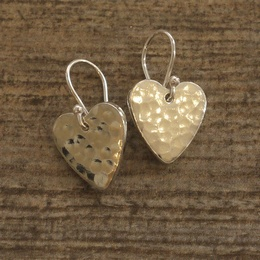 Hammered Tin Heart Drop Earrings